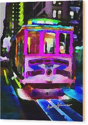 Psychedelic Cable Car Wood Print by Anthony Caruso