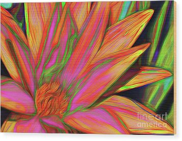 Wood Print featuring the photograph Psychedelic Daisy By Kaye Menner by Kaye Menner