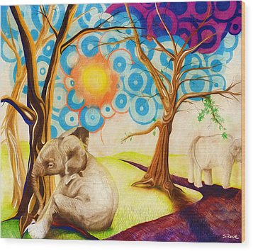 Wood Print featuring the drawing Psychedelic Elephants by Shawna Rowe