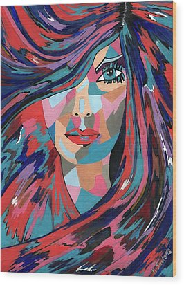 Psychedelic Jane Wood Print by Kathleen Sartoris