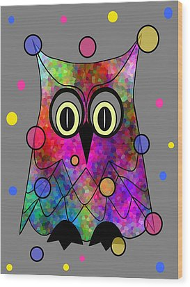 Psychedelic Owl Wood Print
