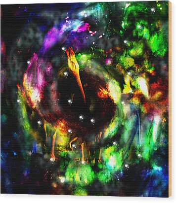 Psychedelic Rainbow Elephant Constellations Wood Print by Abram Lopez
