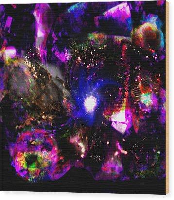 Psychedelic Rainbow Nebula Galaxy Universe Wood Print by Abram Lopez