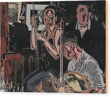 Pub Scene Three Wood Print by Dave Luebbert