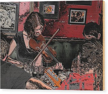 Pub Scene Two Wood Print by Dave Luebbert