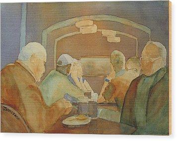 Pub Talk II Wood Print by Jenny Armitage