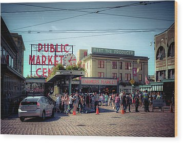 Wood Print featuring the photograph Public Market Crowd by Spencer McDonald