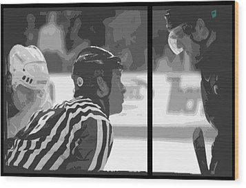 Puck Drop Wood Print by Lucas Armstrong