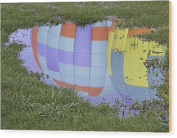 Wood Print featuring the photograph Puddle Reflections by Linda Geiger