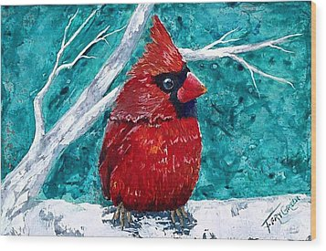 Pudgy Cardinal Wood Print by T Fry-Green