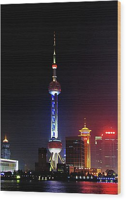 Pudong New District Shanghai - Bigger Higher Faster Wood Print by Christine Till