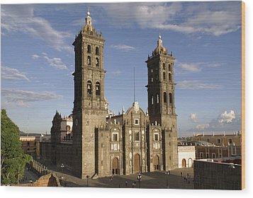 Puebla Cathedral Horizontal Mexico Wood Print