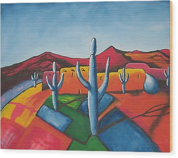 Wood Print featuring the painting Pueblo by Antonio Romero