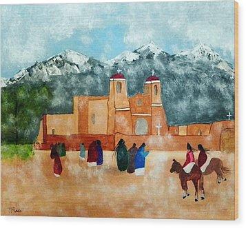 Pueblo Church Wood Print by Joseph Frank Baraba