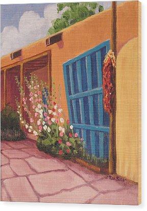 Puerta Azul En Taos Wood Print