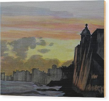 Puerto Rican Sunset Wood Print by Liz Borkhuis