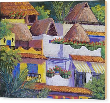 Puerto Vallarta Hillside Wood Print by Candy Mayer