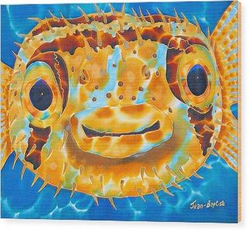 Puffer Fish Wood Print by Daniel Jean-Baptiste