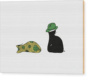 Wood Print featuring the drawing Puffie And Muffie St. Patrick's Day by Rachel Lowry