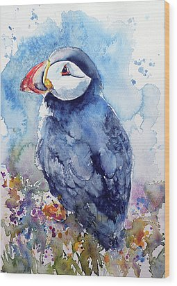 Puffin With Flowers Wood Print by Kovacs Anna Brigitta
