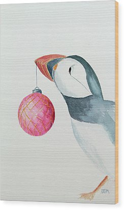 Puffin's First Christmas Wood Print by Doug Moore