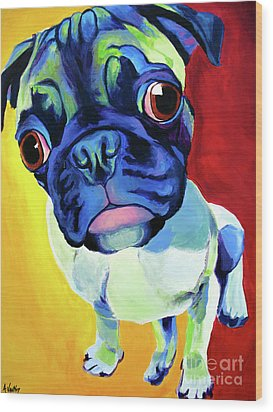 Pug - Lola Wood Print by Alicia VanNoy Call