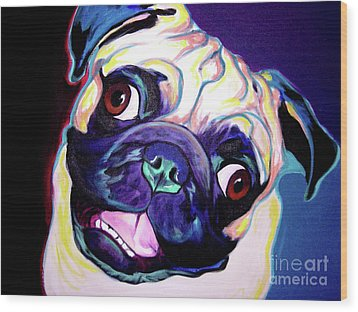 Pug - Rider Wood Print by Alicia VanNoy Call