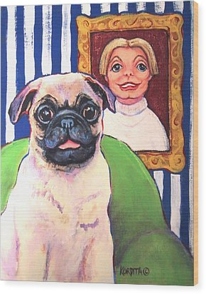 Pug - Beth Ann And Butch Wood Print by Rebecca Korpita