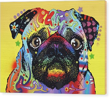 Pug Wood Print by Dean Russo