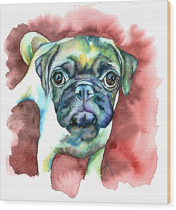 Pug In Red Wood Print by Christy  Freeman