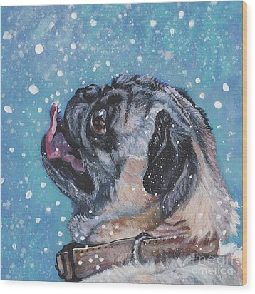 Wood Print featuring the painting Pug In The Snow by Lee Ann Shepard