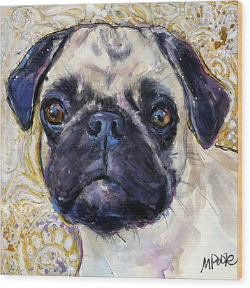 Wood Print featuring the painting Pug Mug by Molly Poole