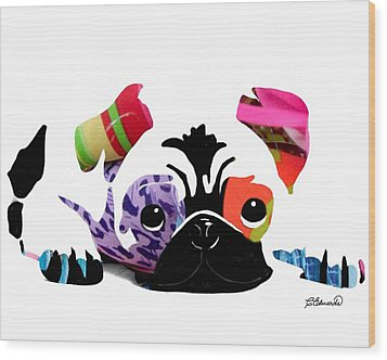 Pug Pup Wood Print by Cindy Edwards