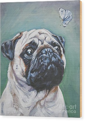 Pug With Butterfly Wood Print