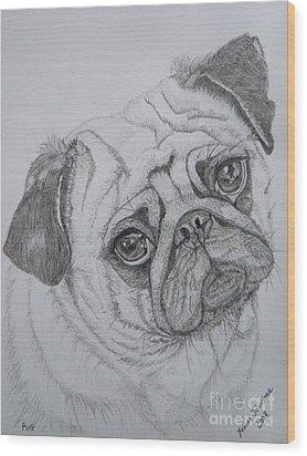 Pug Wood Print by Yvonne Johnstone