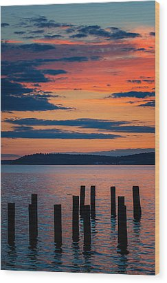 Puget Sound Sunset Wood Print