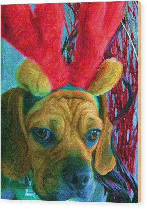 Wood Print featuring the photograph Puggle Holiday by Susan Carella