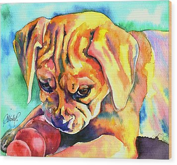 Puggle Playtime Wood Print