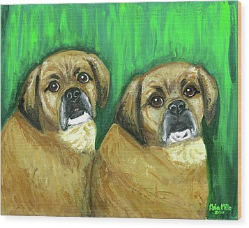 Puggles Bruno And Louie Wood Print