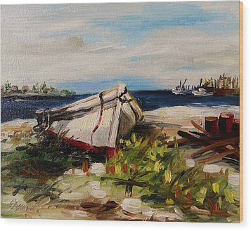 Wood Print featuring the painting Pulled Up On Shore by John Williams