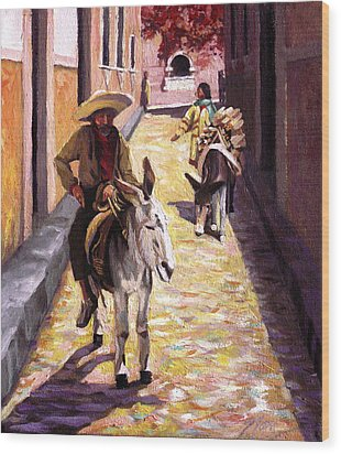 Pulling Up The Rear In Mexico Wood Print by Nancy Griswold