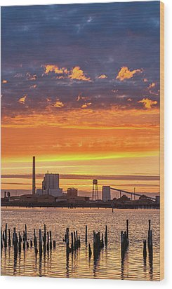 Pulp Mill Sunset Wood Print by Greg Nyquist