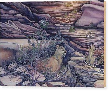Puma In The Desert Wood Print by Sevan Thometz