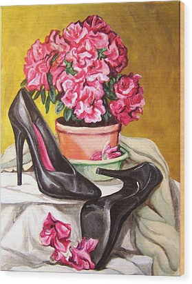 Wood Print featuring the painting Pumped Azalea by Laura Aceto