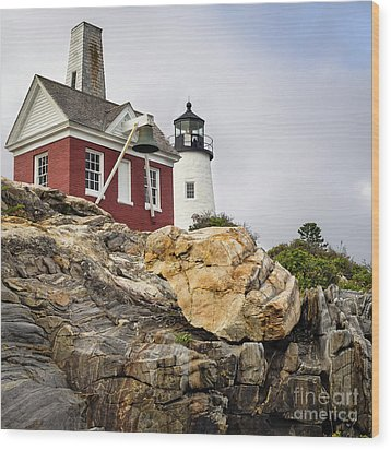 Pumphouse And Tower, Pemaquid Light, Bristol, Maine  -18958 Wood Print