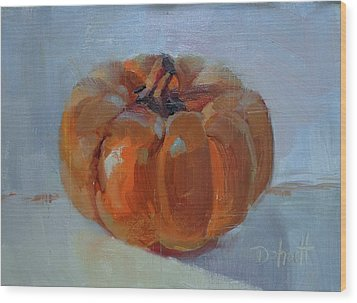 Pumpkin Alone  Wood Print by Donna Shortt