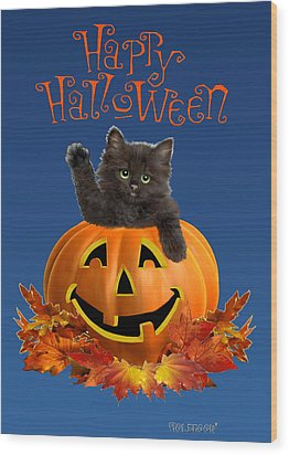 Pumpkin Kitty Wood Print
