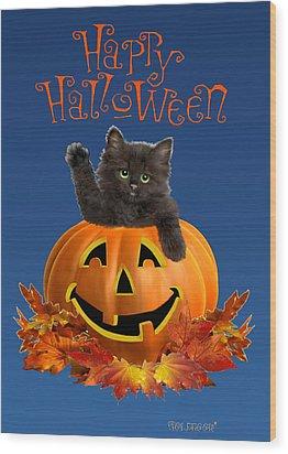 Pumpkin Kitty Wood Print by Glenn Holbrook