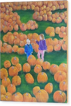 Wood Print featuring the painting Pumpkin Patch by Ellen Canfield