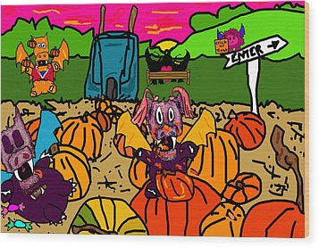 Pumpkin Patch Wood Print by Jera Sky